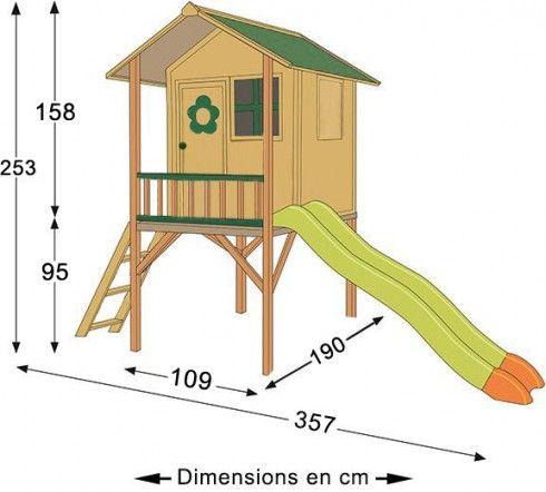 Maisonnette en bois sur pilotis Armelle - JOU027-FSC jardin - Maisonnette En Bois Avec Bac A Sable