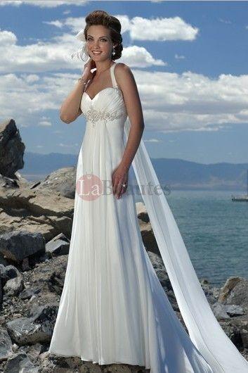 db54a8975499 Empire Waist Spaghetti Straps Brush Train Chiffon Summer Beach Wedding Dress  USD 219.16 P7K3L2Y5