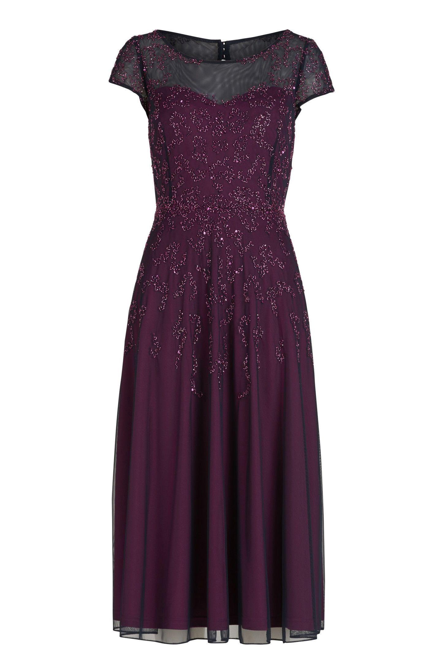 Festliches elastisches Midi-Kleid in Lila von Vera Mont Mode