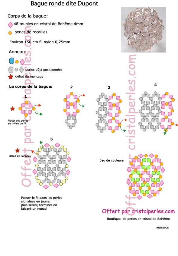 Schéma bague ronde Dupont | Schémas de bijoux en perles, Bague ...