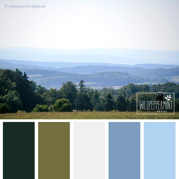 #Farbpalette, #Farbinspiration, Kühle Töne, Blau