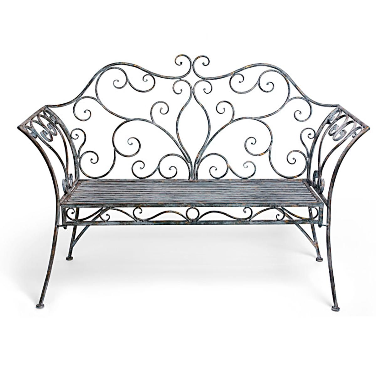 French Iron Scroll Metal Garden Bench For Seats With Chiffon Woven