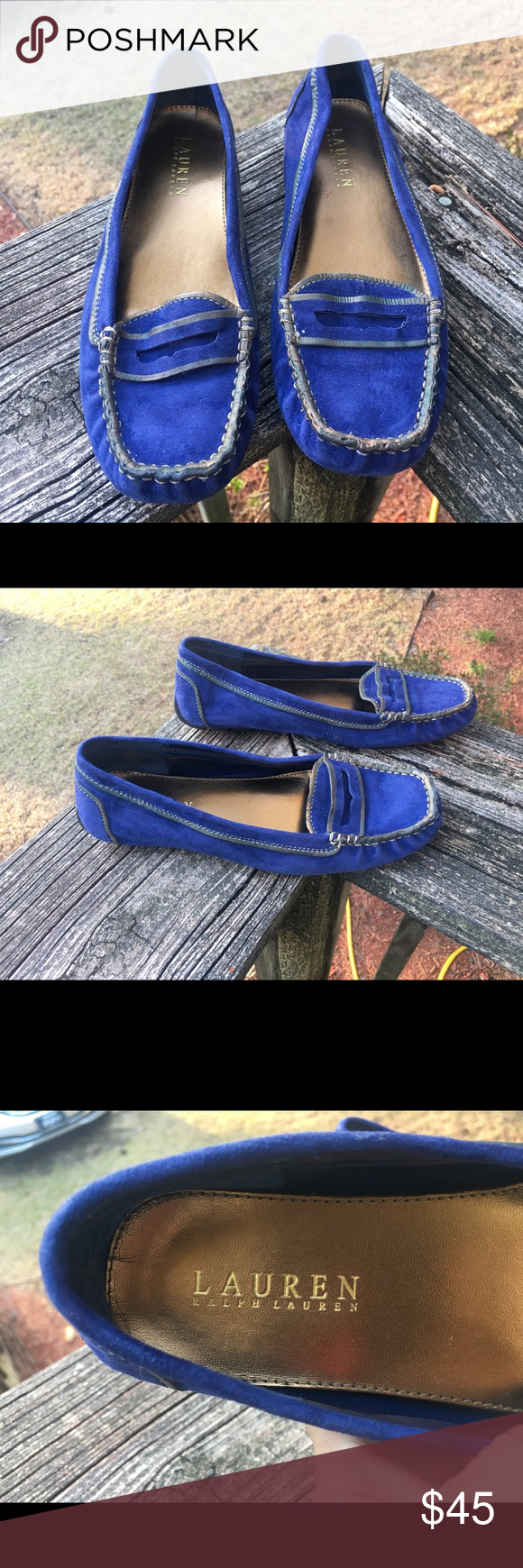 Ralph Lauren These are so cute and comfy. These are a beautiful blue suede. With a gold trim. Really comfortable. Ralph Lauren Shoes Flats & Loafers