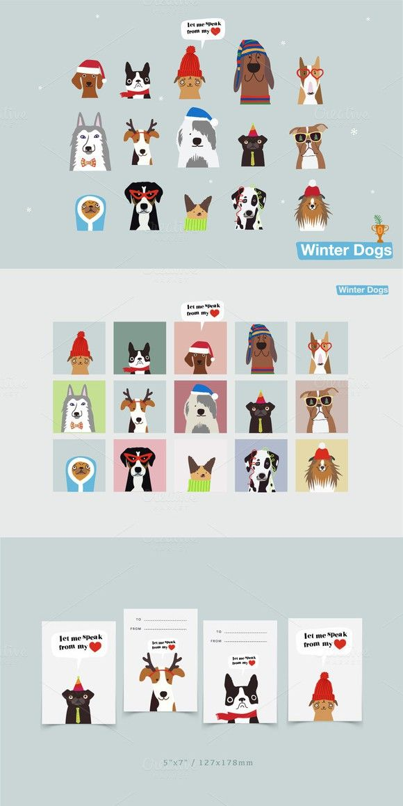 Winter dogs. Christmas Icons. $9.00