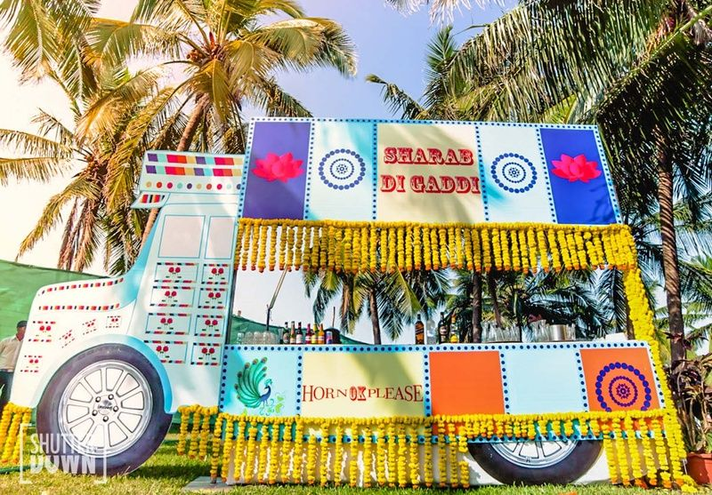 A Bus Decorated With Marigold Strings The Quirkiest Wedding Decor We Have Come Across Love It Wedding