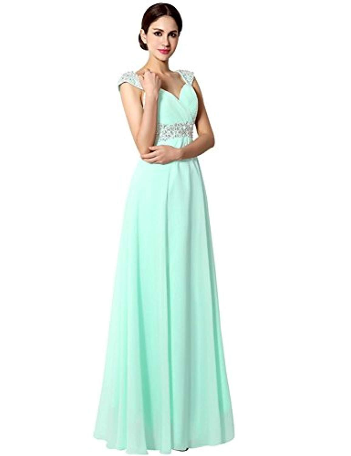 Womenus Long Chiffon Aline Beading Bridesmaid Dresses Prom Gowns