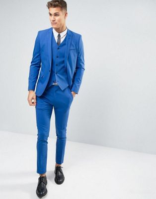 ASOS WEDDING Skinny Suit In Dusky Blue
