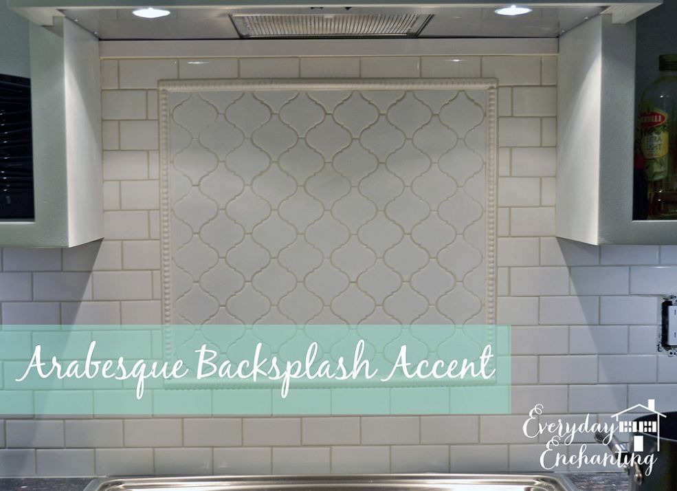 How To Add Interest To A White Subway Tile Backsplash An Arabesque Accent Arabesque Tile Backsplash Kitchen Tiles Backsplash Backsplash Arabesque