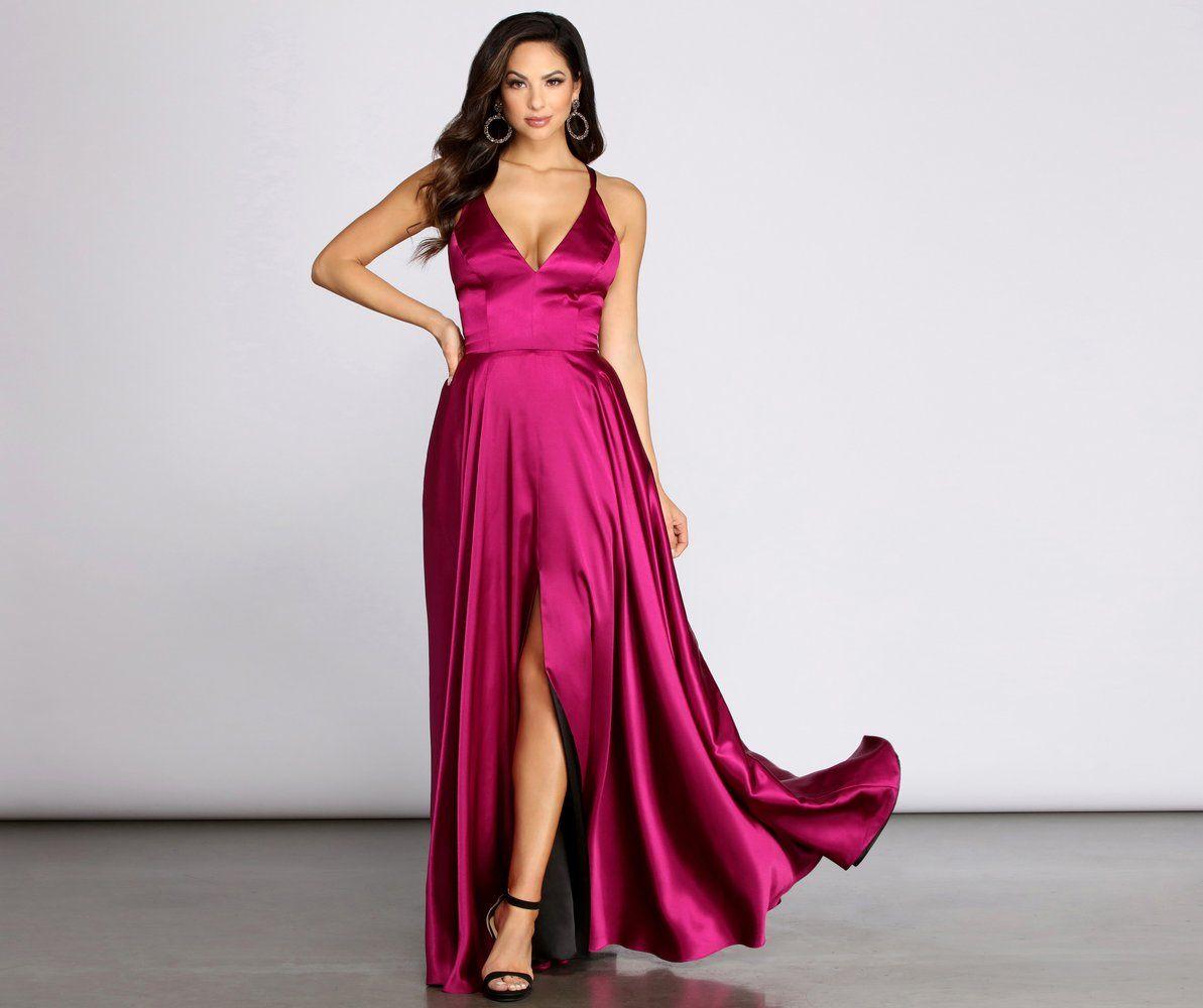 Magenta Silk Bridesmaid Dress Long Sleeve,Purple Satin Maxi Gown