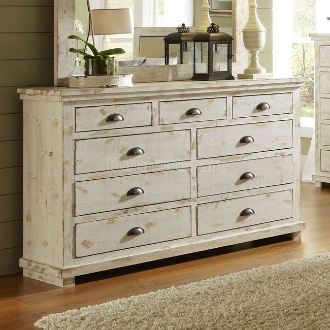 Perfect Willow Drawer Dresser (Distressed White) Progressive Furniture | Furniture  Cart