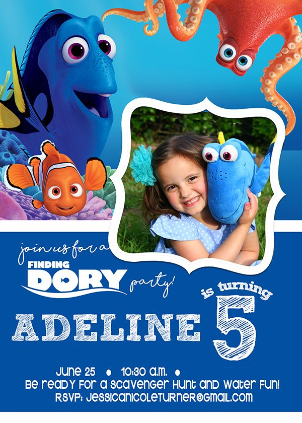Finding Dory Birthday invitation - perfect for a Finding Dory ...