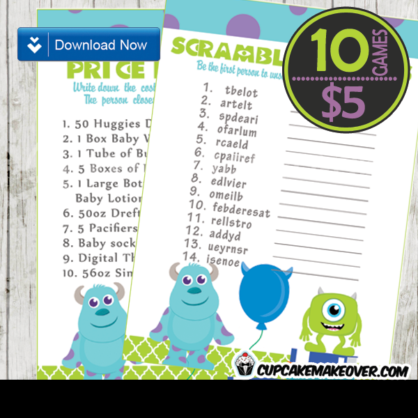 Monsters Inc Baby Shower Games U2013 INSTANT DOWNLOAD