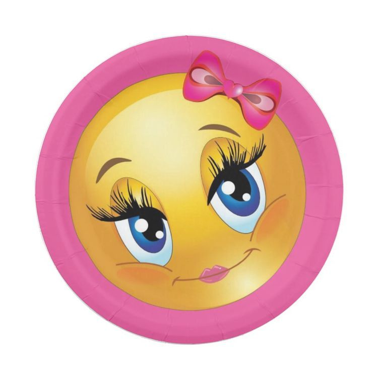 Cute Girl Emoji With A Pink Bow Party Paper Plate Zazzle Com In 2020 Paper Plates Party Girl Emoji Party Paper