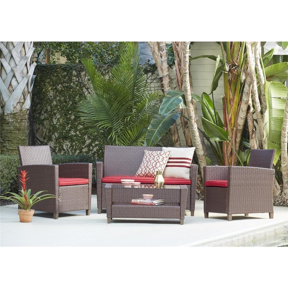 Cosco Malmo 4 Piece Black Resin Wicker Patio Conversation Set With Gray Cushions 88520bgye The Home Dep In 2020 Conversation Set Patio Outdoor Patio Set Deep Seating