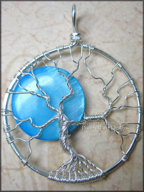 Once in Blue Moon Full Moon Tree of Life Pendant Silver Wire Wrapped ...