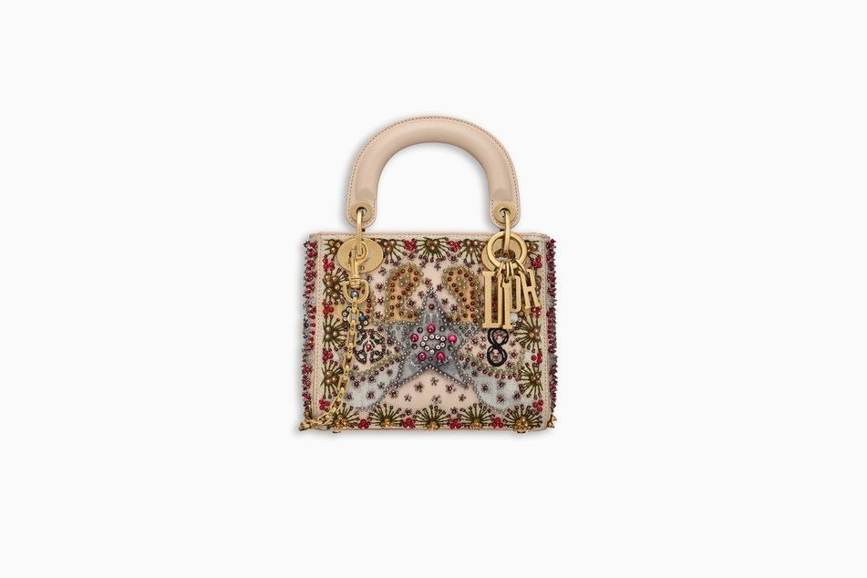 MINI LADY DIOR BAG IN BEIGE SMOOTH CALFSKIN EMBROIDERED WITH A BEADED HEART  - Lady Dior Dior 17e7220e42e6c