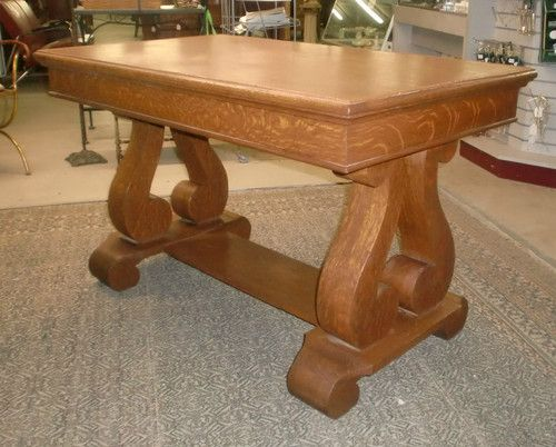 Antique Oak Library Table Desk Stand