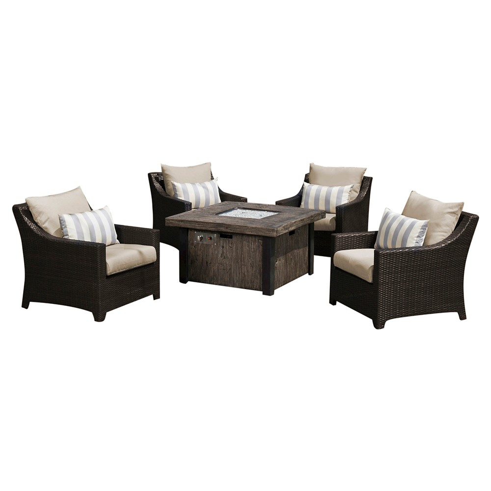 Deco 5-Piece Fire Chat Set - Slate Grey, Silver