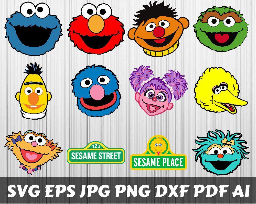 Sesame Street Svg Sesame Street Clipart Sesame Street Bundle Svg Sesame Street Silhouette Printable Cric Sesame Street Sesame Street Birthday Elmo Birthday
