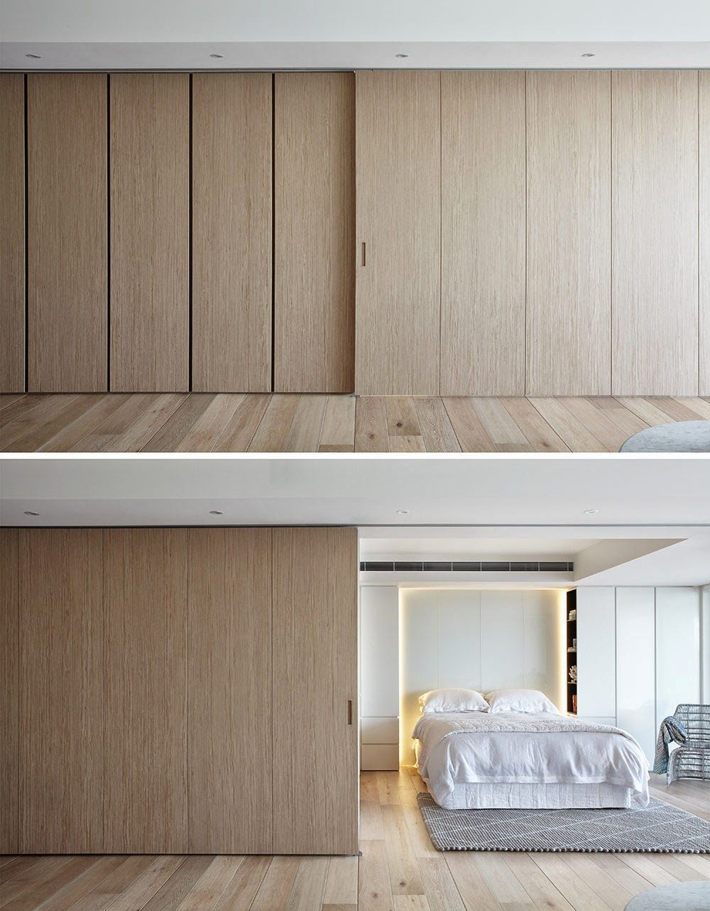 Large sliding doors act as moving walls giving the resident the power to control their presentation & Large sliding doors act as moving walls giving the resident the ...