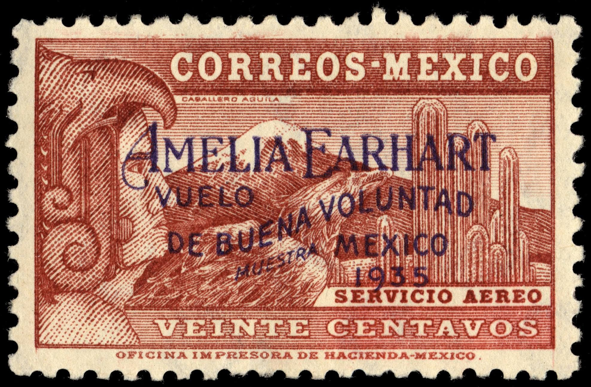 """1935 Amelia Earhart became the first woman to pilot a non-stop flight from Mexico City to Newark, New Jersey. """"Amelia Earhart Vuelo de Buena Voluntad, Mexico, 1935"""" (""""Amelia Earhart Flight of Good Will, Mexico, 1935"""""""