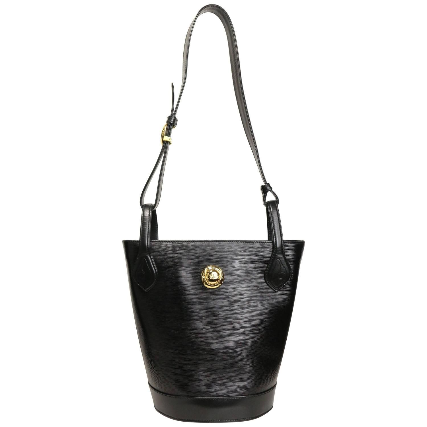 4b19e8506 Chloe Black Leather Bucket Bag with Strap