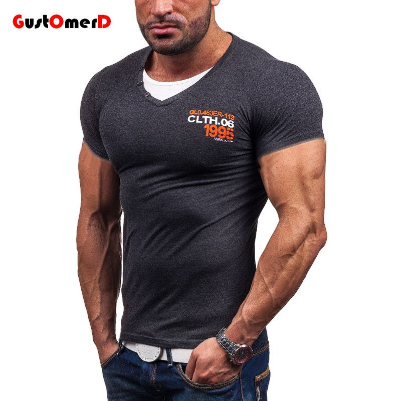 GustOmerD US Size Compression shirt Men Fashion Double Neck Mens T-shirts Short Sleeve Summer T-shirt Men Male Tops Tees #Affiliate