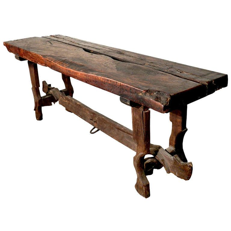 Rustic Farm Table   Legs And Stretcher From Tandem Horse Bow | 1stdibs.com