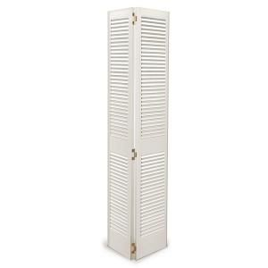 30 in. x 80 in. Wood White Louvered Bi-Fold Door-327151-0 at The Home Depot