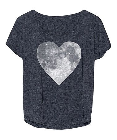 Love this Heather Blue Heart Moon Tri-Blend Dolman Tee on #zulily! #zulilyfinds
