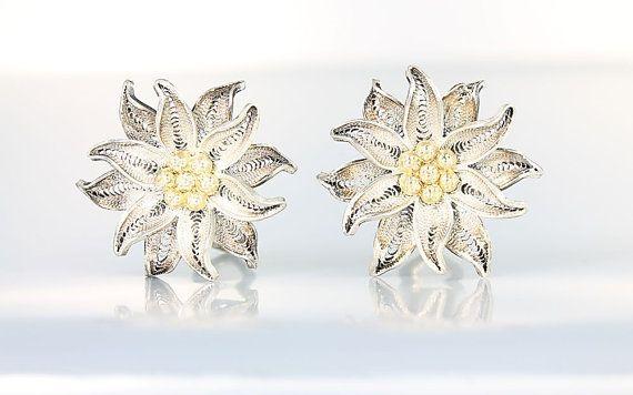 White Earrings -Geometric Earrings Vintage Inspired Earrings Handmade Jewelry Vintage Jewelry Silver Earrings 1960/'s Earrings
