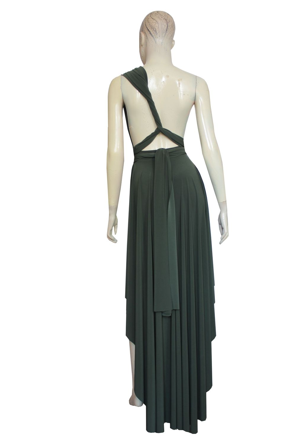8eae7251d17 Olive green convertible dress. Multi way bridesmaids gown. High low plus  size dress. Sexy prom gown.