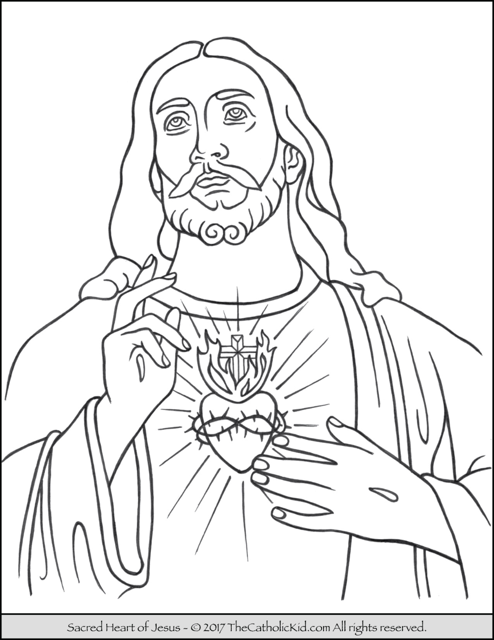 Sacred Heart Of Jesus Coloring Page Thecatholickid Com Jesus Coloring Pages Catholic Coloring Bible Coloring Pages