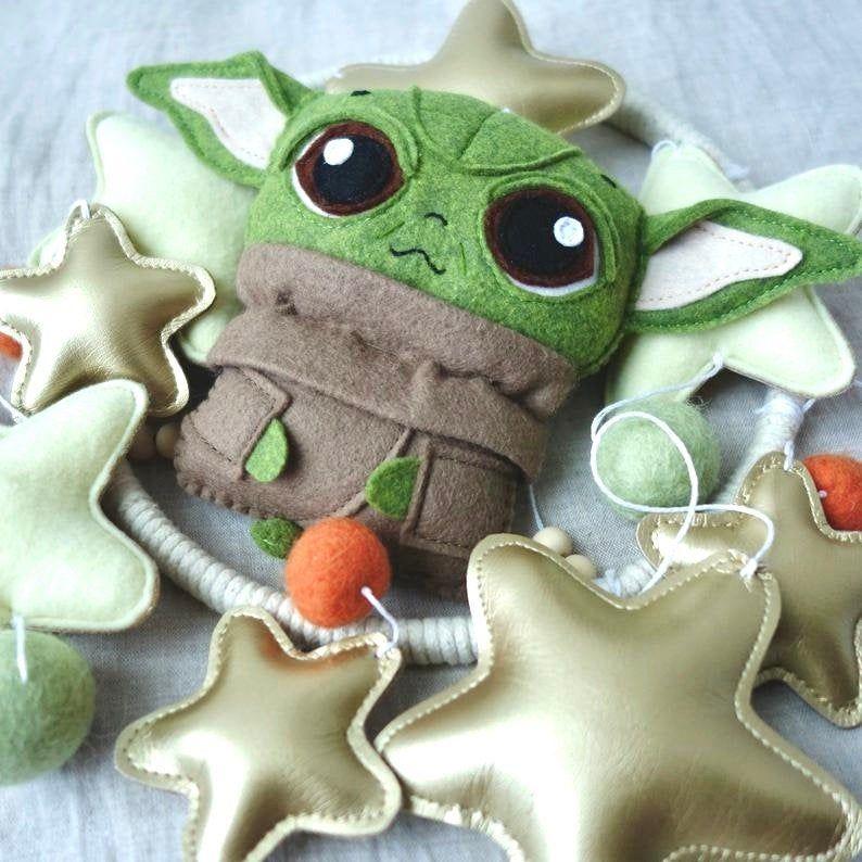 Baby Yoda Star Wars Nursery Felt Crib Mobile In 2020 Star Wars Nursery Star Wars Yoda Felt Baby