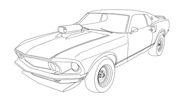 Mustang Cars Coloring Pages Car Colors Car Drawings