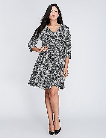Double Knit Fit & Flare Dress with Zipper Detail