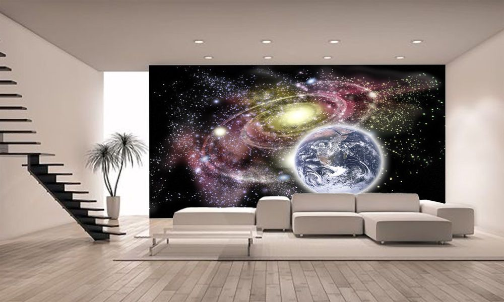 Planet Earth And Galaxy Wall Mural Photo Wallpaper Giant Decor Paper Poster Wall Murals Photo Wallpaper Giants Decor