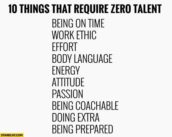 10 Things That Require Zero Talent Being On Time Work Ethic