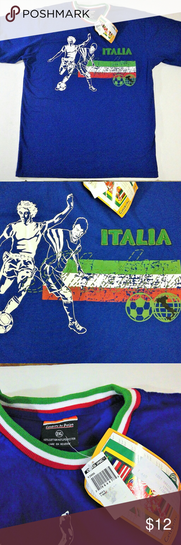 Italia Soccer T-Shirt NWT Brand NEW with tags Italy soccer tee. Very cool design. Men's size XXL. FIFA Shirts Tees - Short Sleeve