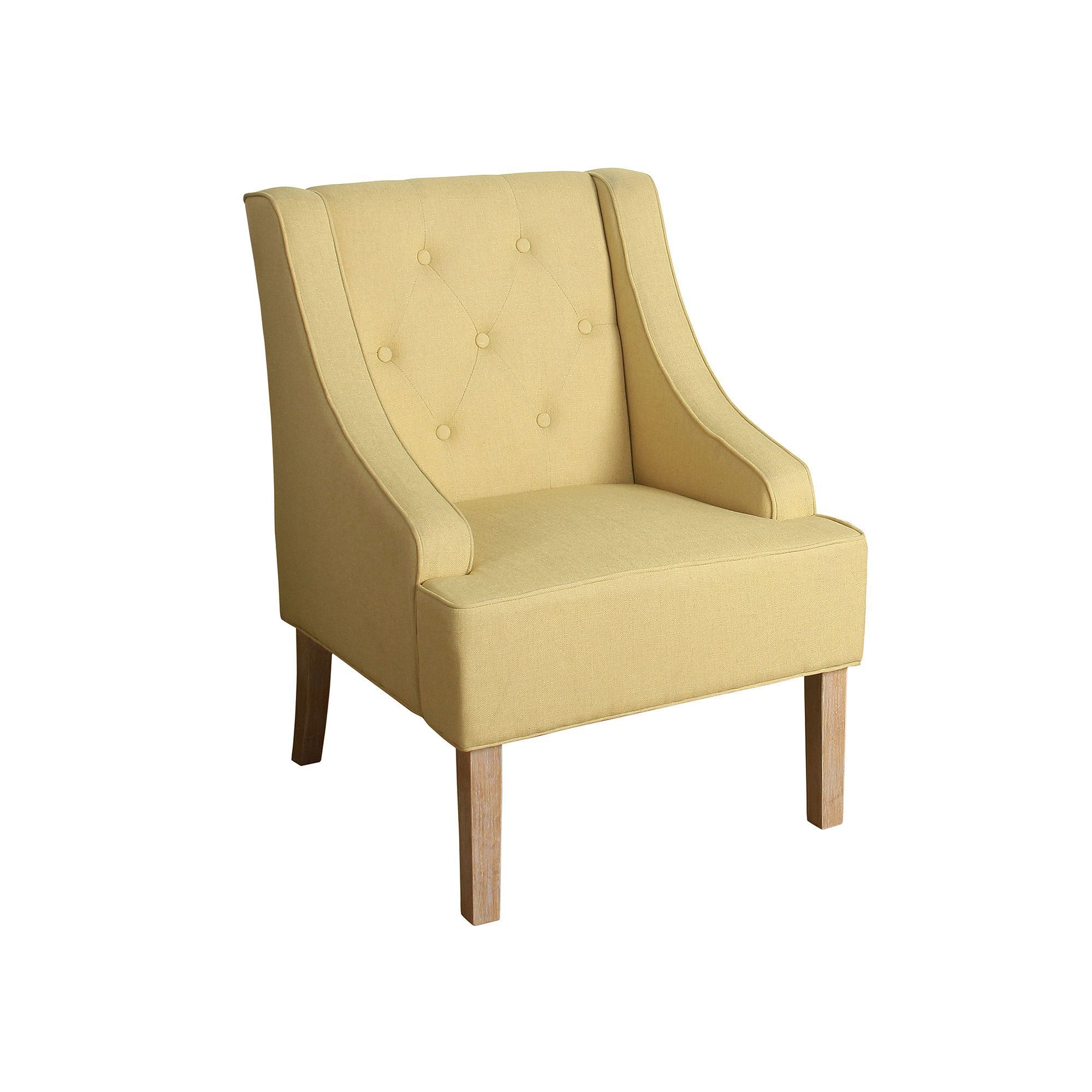 yellow upholstered accent chair light wood dining chairs homepop kate tufted swoop arm products
