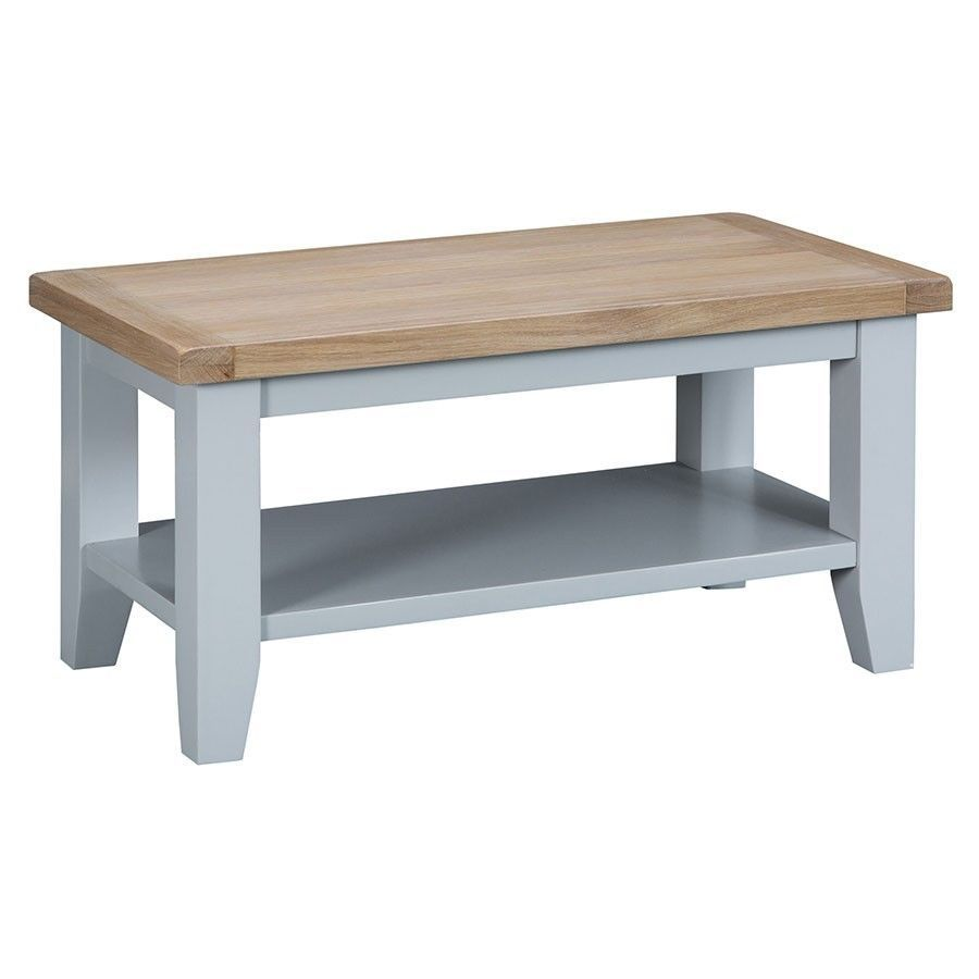 Small Coffee Table Grey Oak Finish Wooden Frame Shelf Unit Living Room Furniture Coffee Table For Small Living Room