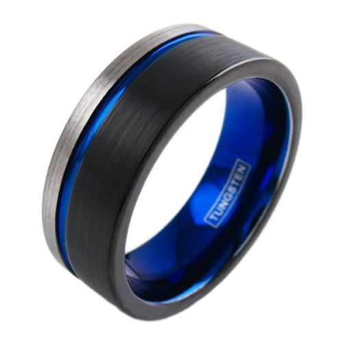 Thin Blue Line Mens Ring Police Officer Sheriff Corrections State Trooper Tungsten Carbide Engravable Inside Wedding