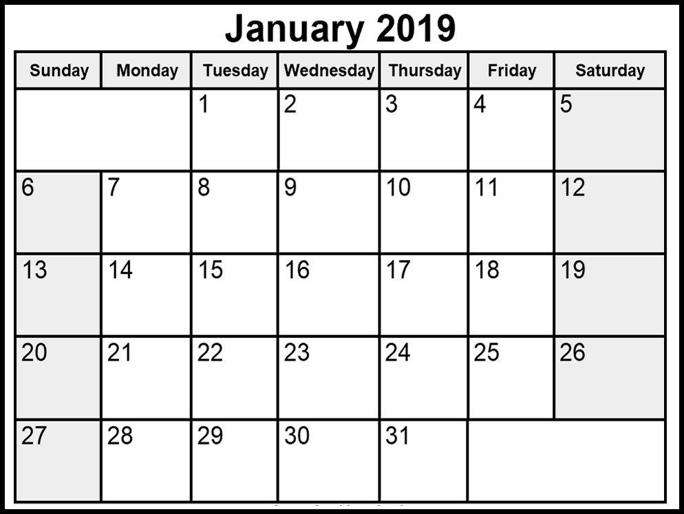 Jan 2019 Calendar Printable Print Calendar November Calendar