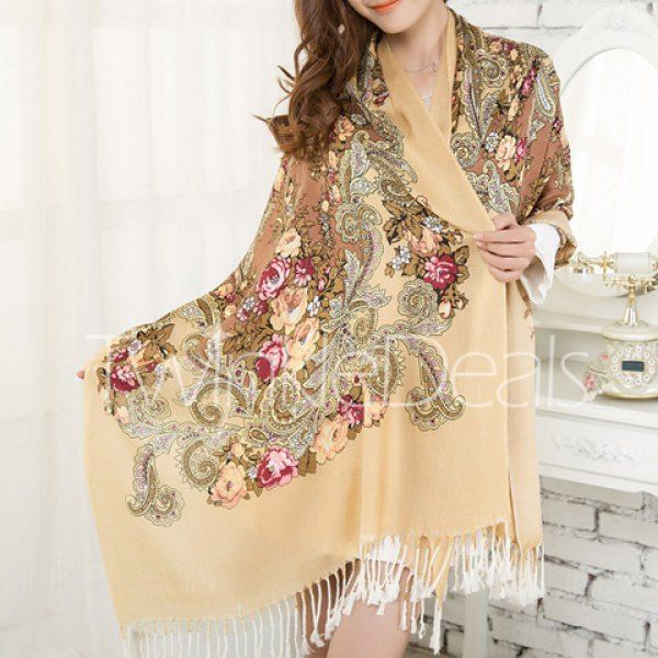 Fashionable Floral Print Tassels Cotton Scarf For Women