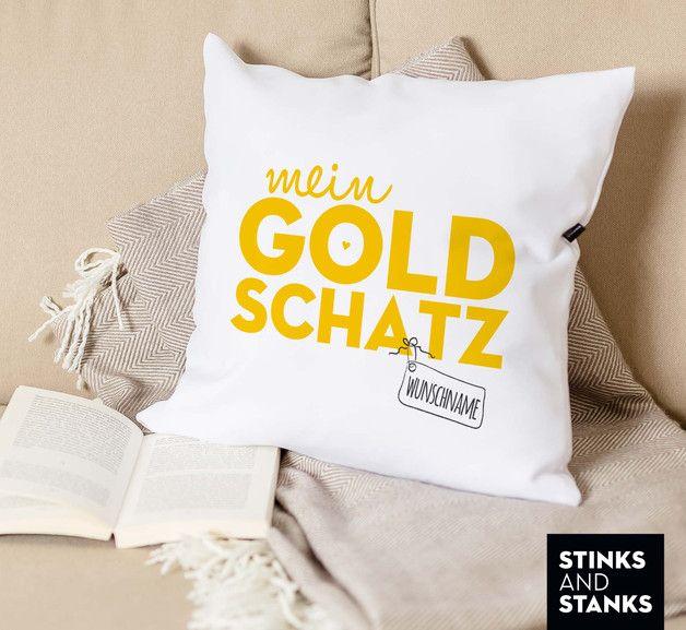 Wohndeko: Kissenbezug für Deinen Lieblingsmenschen, Goldschatz / home decor: pillow case for your favorite person made by stinksandstanks via DaWanda.com