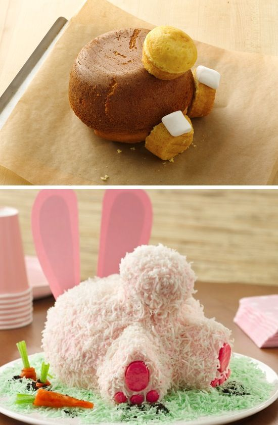Bunny Butt Cake ~ link to recipe and detailed baking instructions on page