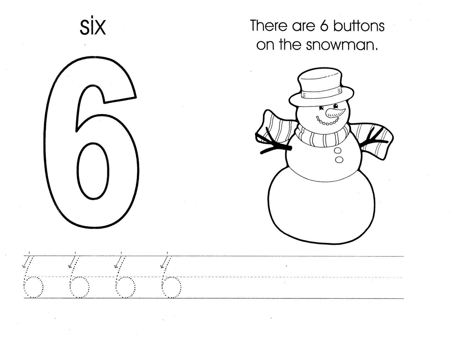 Six Snowman Worksheet