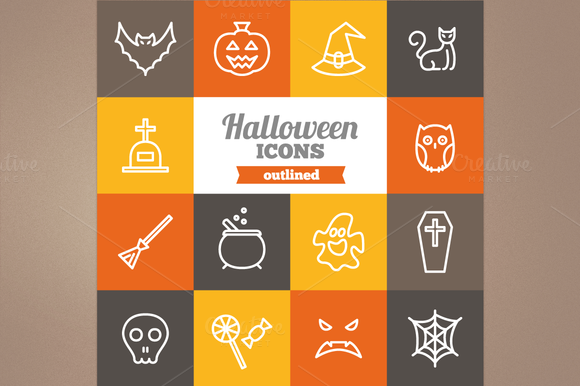 Outlined Halloween icons by miumiu on Creative Market