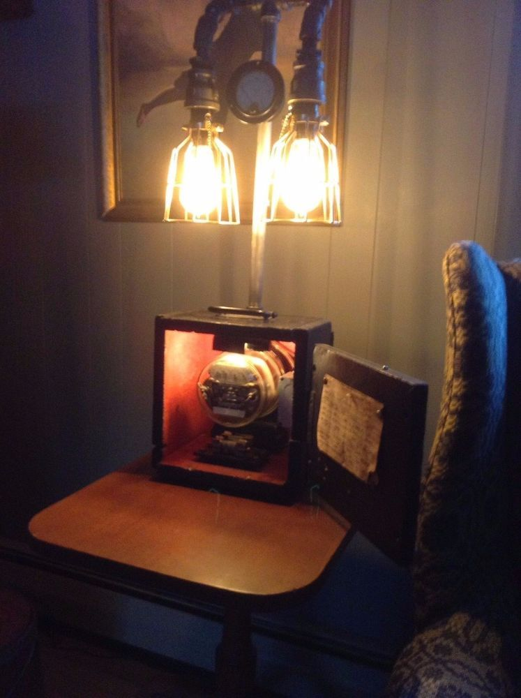 Steampunk Handmade Electric Meter Lamp With Night Light Electric