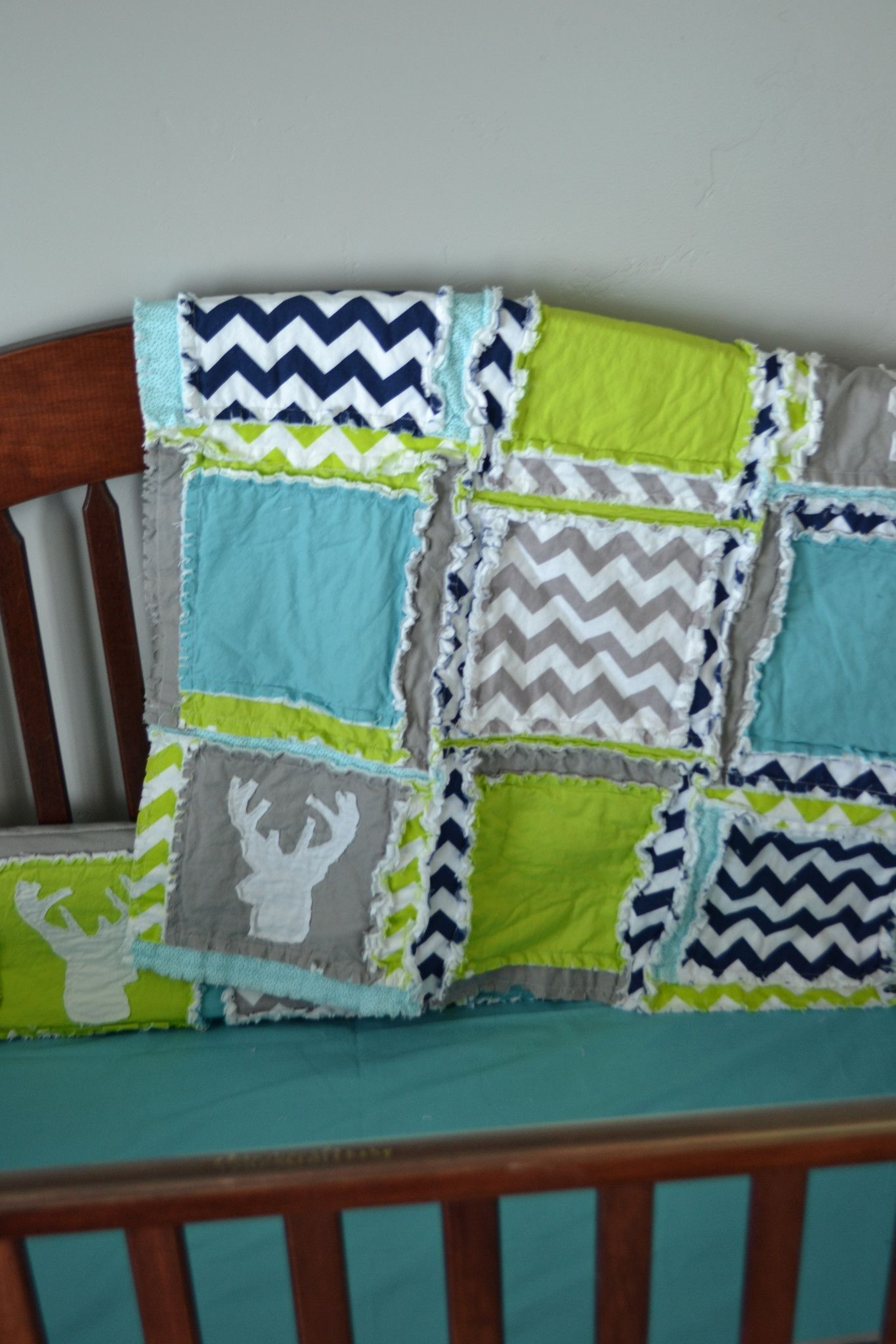 Deer Woodland Baby Boy Crib Bedding For Nursery In Lime